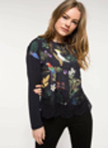 DeFacto Dantel Detaylı Desenli Bluz Siyah